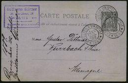 FRANKREICH 1889 (22.7.) Seltener SSt.: EXPOSITION UNIVERSELLE/* 1889 * (ohne Ort = Paris) 3x Auf Firmen-Ausl.-Kt. - - Weltausstellung