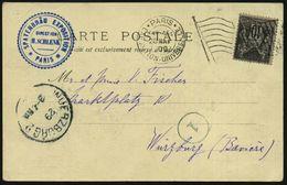 FRANKREICH 1900 (28.5.) MaFlaggensSt.: PARIS/EXPOSITION UNIVERSELLE/ R F (Flagge) + Blauer HdN: SPATENBRÄU EXPOSITION /  - Weltausstellung
