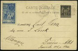 FRANKREICH 1900 (8.6.) Ma.FlaggenSt.: PARIS/EXPOSITION UNIVERSELLE/R F (Flagge) + Blaue Expo.-Vignette,; EXPOSITION UNIV - Weltausstellung