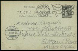 FRANKREICH 1900 (9.7.) Flaggen-MSt: PARIS/EXPOSITION UNIVERSELLE/RF (Flagge) Klar Gest. Ausl.-Karte N. Zittau  - - Weltausstellung