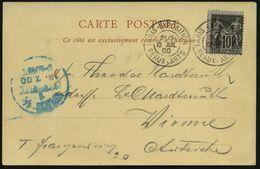 "FRANKREICH 1900 (10.7.) Seltener 2K: PARIS EXPOSITION / B E A U X - A R T S 2x Klar Auf S/w.-Sonderkarte: Expo 1900 ""Pal - Weltausstellung"