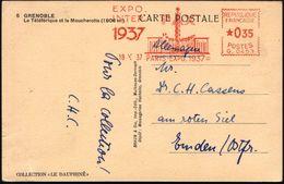 FRANKREICH 1937 (18.10.) Seltener AFS: PARIS-EXPO.1937/ PAX/ EXPO./ INTER. (Friedenssäule, Flaggen) Ausl.-Ak. (Eckbugspu - Weltausstellung