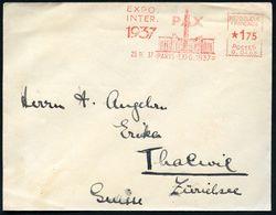 FRANKREICH 1937 (25.9.) Seltener AFS: PARIS-EXPO.1937/ PAX/ EXPO./ INTER. (Friedenssäule, Flaggen) Ausl.-Bf. - - Weltausstellung