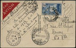 FRANKREICH 1937 (11.8.) SSt.: PARIS/ *EXPOSITION DE 1937* 2x Auf EF 1,50 F. Expo 1937, Klar Gest. Flp.-Sonder-Kt.: Expo  - Weltausstellung
