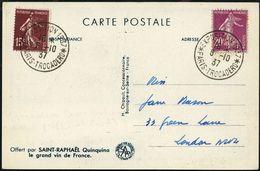 FRANKREICH 1937 (6.10.) SSt: PARIS-TROCADERO/ EXPOSITION 1937 2x Auf Monochromer Expo-Reklame-Ak.: Saint-Raphael-Wein-Sä - Weltausstellung