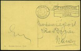 ITALIEN 1911 (18.10.) MaWSt.: ROMA/FERROVIA/ ESPOSIZIONE/1911/ ROMA , Frankatur Vs. (Eckfehler, 1K: ROMA) Ausl.-Foto-Ak. - Weltausstellung