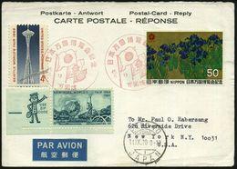 JAPAN /  USA 1970 (7.9.) Roter SSt: OSAKA/ EXPO (Flaggen) Auf 50 Y. Expo (Mi.1072) + 1K: EXPO 70/OSAKA/ JAPAN  + USA 5 C - Weltausstellung