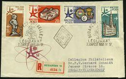 UNGARN 1958 (17.4.) Expo Brüssel, Kompl. Gez.Satz , Mehrfacher Atomium-SSt: BUDAPEST + RZ: BUDAPEST 72, 2 Ausl.-R-FDC-SU - Weltausstellung