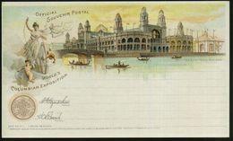 "U.S.A. 1893 PP 1 C. Grant Schw.: WORLD'S COLUMBIAN EXPOSITION, The Electrial Building (allegor. Frau ""Elektrizität"" Mit  - Weltausstellung"