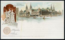 U.S.A. 1893 PP 1 C. Grant, Schw.: WORLD'S COLUMBIAN EXPOSITION.. (Ausstellungs-Pavillon (Hauptgebäude ?), Skulpturengrup - Weltausstellung