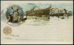 U.S.A. 1893 PP 1 C. Grant, Schw.: WORLD'S COLUMBIAN EXPOSITION.. The Agricultural Building (Allegorie-Skulptur, Landwirt - Weltausstellung