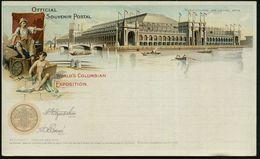 U.S.A. 1893 PP 1 C. Grant, Schw.: WORLD'S COLUMBIAN EXPOSITION.. MANUFACTRERES AND LIBERAL ARTS = Künstler (mit Pinsel U - Weltausstellung