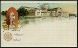 U.S.A. 1893 PP 1 C. Grant, Schw.: WORLD'S COLUMBIAN EXPOSITION.. FINE ART BUILDING (= Kunstpalast Weltausstellung U. Kün - Weltausstellung