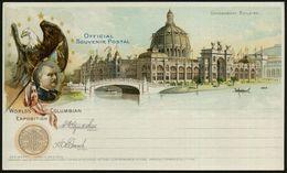 U.S.A. 1893 PP 1 C. Grant, Schw.: WORLD'S COLUMBIAN EXPOSITION.. Government Building, Präs. Grover Cleveland = Präsident - Weltausstellung
