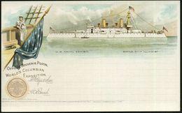 U.S.A. 1898 PP 1 C. Grant, Schw.: WORLD'S COLUMBIAN EXPOSITION.. USNAVAL EXHIBIT. = Columbus-Weltausstellung, Schlachtsc - Weltausstellung