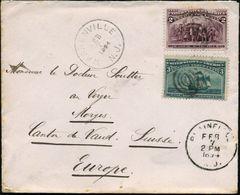 """U.S.A. 1894 (7.2.) 2 C. U. 3 C. """"400 Jahre Entdeckung Amerikas, Chr. Columbus"""", Satzreine Frankatur , Sauber Gest. Übers - Weltausstellung"""