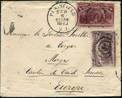 """U.S.A. 1893 (6.9.) 2 C. U. 8 C. """"Columbus-Expo"""", Satzreine Frankatur , Sauber Gest. (oben Kl. Öffnungsmäng., Kaum Sichtb - Weltausstellung"""