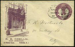 "U.S.A. 1897 (30.9.) Reklame-PU. 2 C. ""Columbian Expos. 1892"" Viol.: A. B. COELLN / WINE MERCHANT / NEWARK, N.J. (Weinges - Weltausstellung"