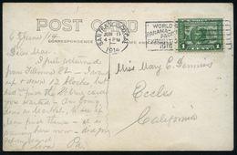 U.S.A. 1914 (6.6.) Flaggen-MWSt.: SAN FRANCISCO, CAL/ WORLD'S/PANAMA PACIFIC/EXPOSITION/1915 Auf Passender EF 1 C. Panam - Weltausstellung