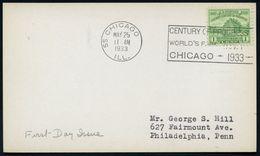 """U.S.A. 1933 (25.5.) 1 C. """"Chicago World's Fair"""", EF = Fort Dearborn (Blockhaus = 100 Jahre Chicago) + Passender MWSt.: 5 - Weltausstellung"""