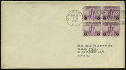 """U.S.A. 1933 (25.5.) 3 C. """"Expo Chicago"""", Reine MeF: 4er-Block + MaWSt.: 55 CHICAGO/ILL./CENTURY OF PROGRESS/WORLDS FAIR/ - Weltausstellung"""
