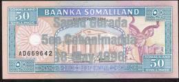 SOMALILAND  P17a 50  SHILLINGS 1996  #AD  Overprint 4a    RARE     UNC. - Somalia