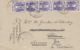 France COMPS-SUR-ARTUBY (Var) 1945 Card Carte BERNE Readressed BEX Suisse OUVERT Par Censure Censor Chaines 4-Stripe - Covers & Documents