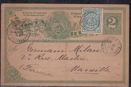 Costa Rica - Entier Complété De 1897 Pour Marseille, Au Verso Càd New Orléans L.A Transit - Costa Rica