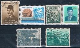 Indonesia 1951 / 89  -  Michel  81 + 111 + 269 + 273 + 1246 + 1306  ( Usados ) - Indonesia