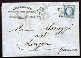CP9- 26-  LETTRE CLASSIQUE CÉRÈS N°60A - OBLITÉRATION ÉTOILE N°17 (TRONQUÉE ?)- CAD PARIS R.DU PONT-NEUF 1874- 3 SCANS - Marcophilie (Lettres)
