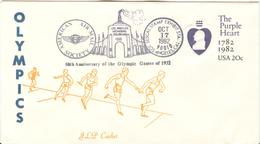 USA Olympic JLP Stationery Cover Relay And Cancel 50th Anniversary Of The Olympic Games Of 1932 - Summer 1932: Los Angeles