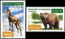 ANDORRA FRANCESA 2006 - FAUNA MAMIFEROS - OSO - REBECO  - 2 SELLOS - Animalez De Caza