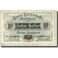Billet, Autriche, Innsbruck, 10 Heller, Blason, 1920 SPL Mehl:FS 1073II - Austria