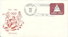 USA Olympic JLP Stationery Cover With Discus And Cancel 1932 1982 Olympics In USA SWEPEX 82 Station Houston - Summer 1932: Los Angeles