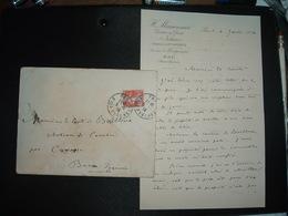 LETTRE TP SEMEUSE 10c OBL.5-6 13 PAU BSES PYRENEES (64) COMTESSE DE BAILLEUX CHATEAU CASSABER Par CARRESSE - Marcophilie (Lettres)