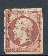 N°17 BELLE NUANCE OBLITERATIONGROS POINTS TIMBRE SIGNE. - 1853-1860 Napoleon III