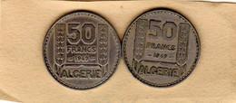 Lot De 2 Pièces D'Algérie Française De 50 Francs 1949 En S U P- - Algeria