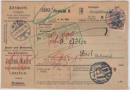 DR - 1 M. Reichspostamt U.a., Paketkarte I.d. SCHWEIZ, Crefeld 5 - Biel 1909 - Deutschland