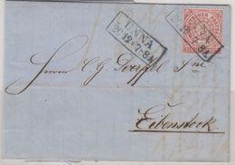 NDP - 1 Gr. Gez., Brief Ra2 Unna - Eibenstock 1869, Mit Inhalt - Deutschland