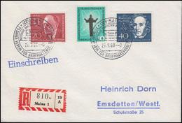 Ältester Deutscher Poststempel MAYNTZ, Bund-Berlin MiF R-Brief SSt MAINZ 27.8.60 - Post