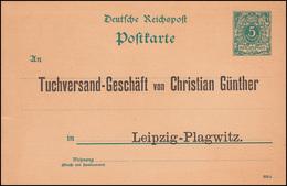 Postkarte P 30I Ziffer 5 Pf DV 393 D, Tuchversand Leipzig-Plagwitz, Ungebraucht - Textile