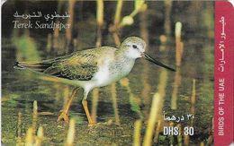 UAE - Etisalat - Birds - Terek Sandpiper - Remote Mem. 30Dhs, Used - Verenigde Arabische Emiraten