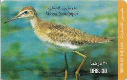 UAE - Etisalat - Birds - Wood Sandpiper - Remote Mem. 30Dhs, Used - Verenigde Arabische Emiraten