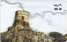 UAE - Etisalat - Castle Drawing, Remote Mem. 30Dhs, Used - Verenigde Arabische Emiraten