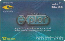UAE - Etisalat - EXplore Documentary Channel, Remote Mem. 30Dhs, Used - Verenigde Arabische Emiraten
