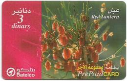 Bahrain - Batelco - Red Lantern Flower, 3BD Prepaid Card, Used - Bahrein