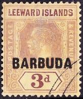 BARBUDA 1922KGV 3/- Purple/Pale Yellow SG9FU - Giamaica (...-1961)