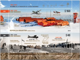 Argentine Antártida Commemorative Stamps 50 Old Years Base Antartica Marambio Airplane Avions Mini HB// Em 29 Abril 2019 - Stamps