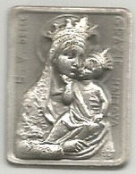 Mantova, Religione Cattolica, Beata Vergine Delle Grazie, Placchetta Ag. Cm. 1,8 X 2,3, - Italia