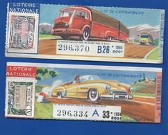 2 Billets De  Loterie  Théme Voitures  Année 1954 - Billets De Loterie